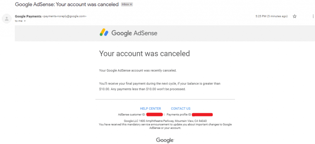Account delete confirmation mail