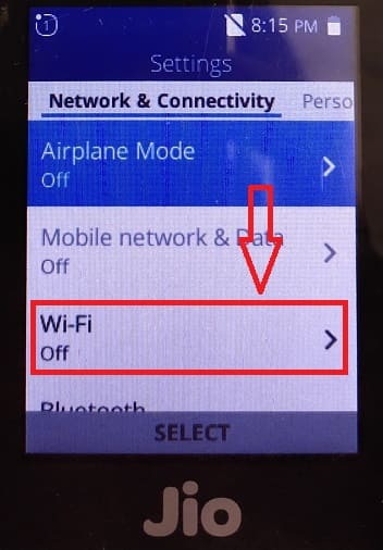 Click on wifi option