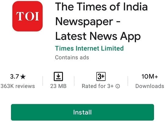 The times of india newspaper